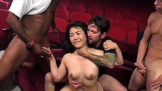 Oriental bitch fuckfest gangbanged in xxx theater