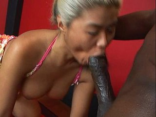 Mature asian sucks huge..