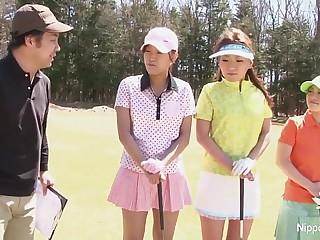 Asian teen girls plays golf nude
