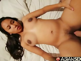 Asian Sex Diary - Chubby Filipina MILF gets her furry pussy stuffed
