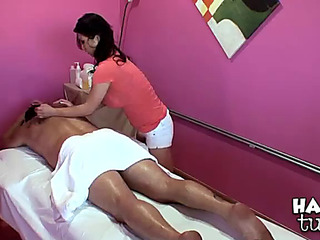 Breasty oriental chick massages a lad previous to that guy nails her