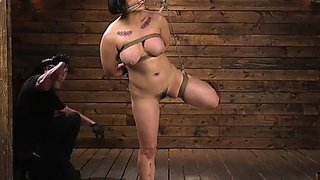 Breasty bushy oriental spanked and toyed