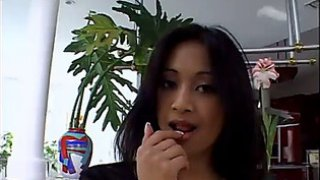 Cute oriental with tiny wobblers has interracial
